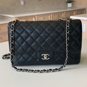 Chanel jumbo caviar leather.